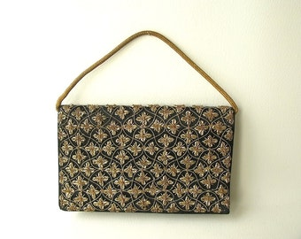Vintage Gold Embroidered Evening Bag, clutch purse, small