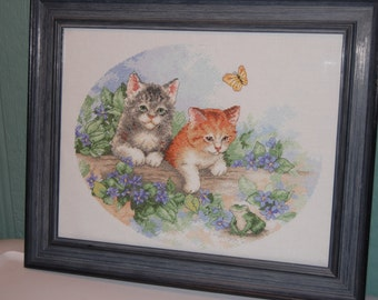 Completed and Framed - Duo of Kitties