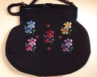 Large Handmade Needlepoint Handbag with Floral Wreaths