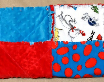 "Baby Lovey - Quilted and Ragged Dr. Seuss Thing 1 & 2 Flannel with Red and Blue Dimple Minky, 15"" X 15"""