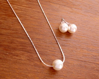7 Single Floating Pearl Necklace and Stud Earrings Jewelry Sets - Bridal, Bridesmaids, Gift for her