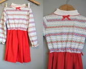 Vintage Girls Dress Red Heart Print Holiday Christmas Red 6