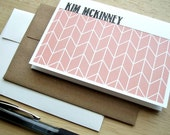 Personalized Note Cards - Geometric Stationery Set, Modern Herringbone Note Cards, Personalized Chevron Thank You Notes, Salmon Coral White