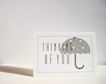 Thinking of You Cards - Umbrella Stationery, Thinking of You Card Set, Spring Polka Dot Umbrellas, Get Well Cards, Grey Mint Mustard Yellow