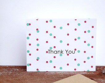Thank You Card - Polka Dots Thank You Greeting Card, Modern Dots Red Aqua Orange Navy Blue Olive Green Yellow Thank You Note