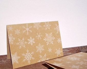 Winter Snowflake Note Cards - White Snowflakes, Kraft Paper Snowflake Stationery, Rustic Neutral Thank You Notes, Winter Snow Note Card Set