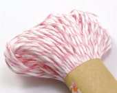 BABY PINK and White Bakers Twine String for crafting, gift wrapping, packaging, invitations - 15 yards