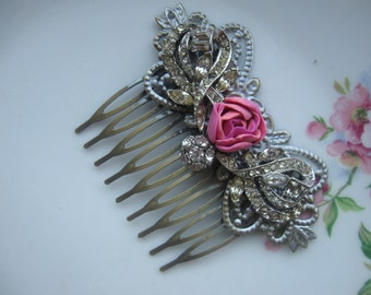 And She Wore in her Hair...vintage glass rhinestone bridal shabby chic french hair comb