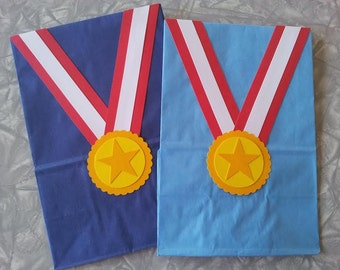 Gold Medal Birthday Party Favor Treat Sacks Sports Olympics Gymnastics Gym Theme Goody Bags by jettabees on Etsy