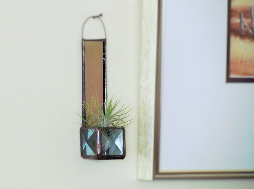 Mini Wall Hanging Air Plant Holder Mirror Smoky Gray Grey