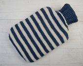Knitted Hot Water Bottle Cover in Denim Blue and Cream stripes