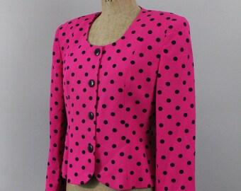 Dior suit jacket - 80s pink polka dot Christian Dior jacket