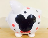 Personalized  Large Piggy  Bank  Disney Mickie Mouse Polka Dots-Newborns , Boys , Girls , Baby Shower Gift Centerpiece