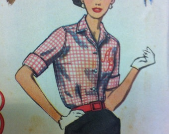 Vintage 1950s Shirt Pattern Simplicity 2195