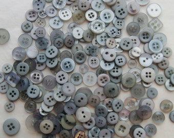 200 Gray SMALL Button Mix,  Crafting Jewelry Collect (1295 B)