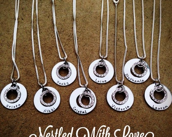 Personalized Hand Stamped Bridesmaid Necklaces