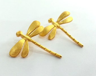 2 Pcs (28x26 mm) Dragonfly Charms , Gold Plated Brass  G2392