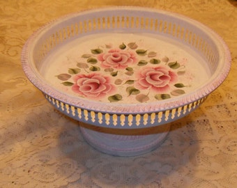 Shabby Cottage Victorian Chic H P Pink Rose Ornate Trim Pedestal Silver Plated Serving Centerpiece
