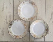 Noritake Small Plates Set of 4, Cottage Style White and Gold Bridal Shower Plates, Princess Tea Party