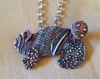 silver necklace, animal jewelry, pig pendant,  evolution, silver pendant, bunny, poodle, purple pig