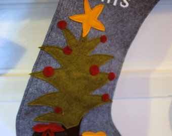 Christmas Tree with Gifts Felt Christmas Stocking Handcut and sewn together