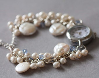 Bridal watch bracelet, something blue, Ivory freshwater pearl with pale blue Swarovski crystals.
