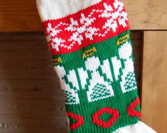 Christmas Stocking Knitted With Lining With Angels