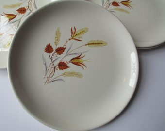 Vintage Taylor Smith & Taylor Autumn Harvest Bread and Butter Plates Set of Six