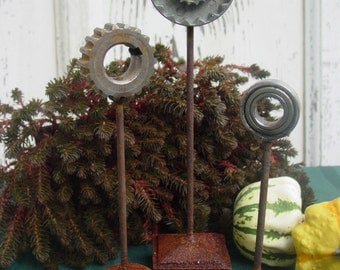 Set of Three, Industrial Chic, Steampunk Style Gear Sculptures- Home Decor