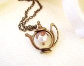Tea Pot Necklace- Antique Brass Swarovski Pearl Necklace