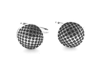 Golf Ball Cuff Links- Sterling Silver Finish- Gifts For Men