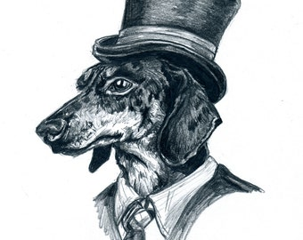 Dapper Dachshund Fashionable Animal Print