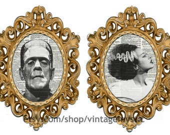 His and Hers Frankenstein's Monster & Bride of Frankenstein Dictionary Art