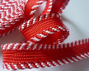SALE Trim, candy red and cream striped edge  medium art silk
