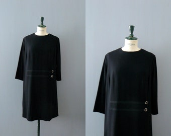 Vintage black dress. 1960s dress. size xl dress