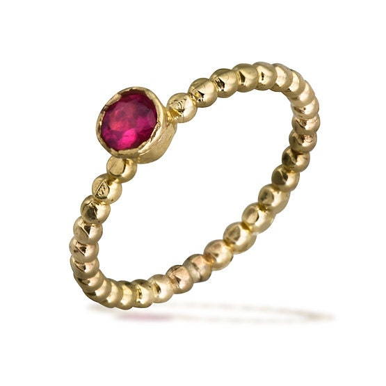 Ruby Bezel Ring With Beaded 14k Gold Band, Ruby Jewelry, Ruby Engagement Ring