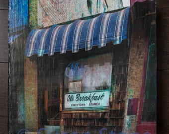 12x12 inch photo on wood panel, Al's Breakfast, fine art, abstract digital photo on wood, wall art, office art,