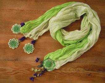 Long green scarf with crochet edging, cotton doily motif