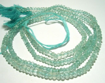 Aquamarine Beads  -  Micro Faceted 4mm x 3mm Roundell 16 Inch Strand - Beautiful Lovely Sky Blue