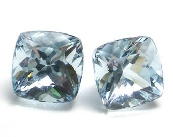 Aquamarine Loose Gemstones Pair Pear Princess Cut AAA Grade Flawless Gem For Earrings Sky Translucent Light Blue Aqua Brazilian 1.64 Carats