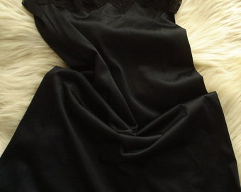 vintage black lace  lingerie full slip