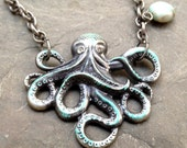 Large Gilded Gunmetal Octopus Necklace - A Drop made from a Sea Agate