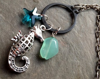 Seahorse O-ring Pendant - Swarovski Sea Star and Chalcedony Aqua Stone