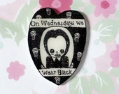 Wednesday Addams pin, Creepy kooky cute brooch, lapel, pin back pin,Holographic glitter, spooky, 90's style, halloween, gothic, black, art
