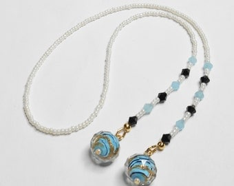Beaded Bookmark with Gold Leaf Blue Jade Black Bicone TOHO Seed Beads Handmade