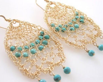 Chandelier Statement Earring,  Turquoise Chandelier Earrings, Turquoise Gold Earrings, Gold Statement Earrings, Turquoise Wedding Earrings