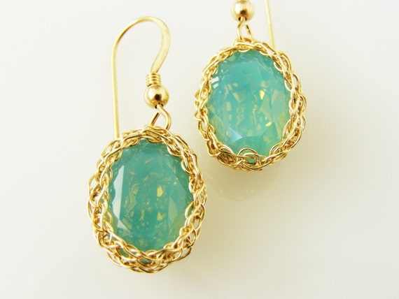 Teal Blue Earrings, Blue and Gold bridesmaid Earrings, Swarovski Crystal Earrings, Wire warpped Earrings