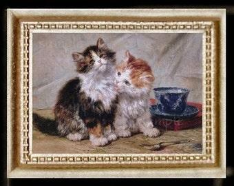 Kittens Miniature Dollhouse Cat Art Picture 1237