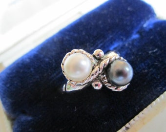 Vintage Avon Ring with Faux White Pearl and Gray Pearl Setting