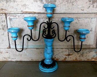 Color Of Your Choice Candelabra Wooden Metal Painted Distressed Upcycled